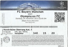 TICKET - CHAMPIONS LEAGUE 2015 – 2016 BAYERN MUNICH – OLYMPIAKOS PIREAS - STUB