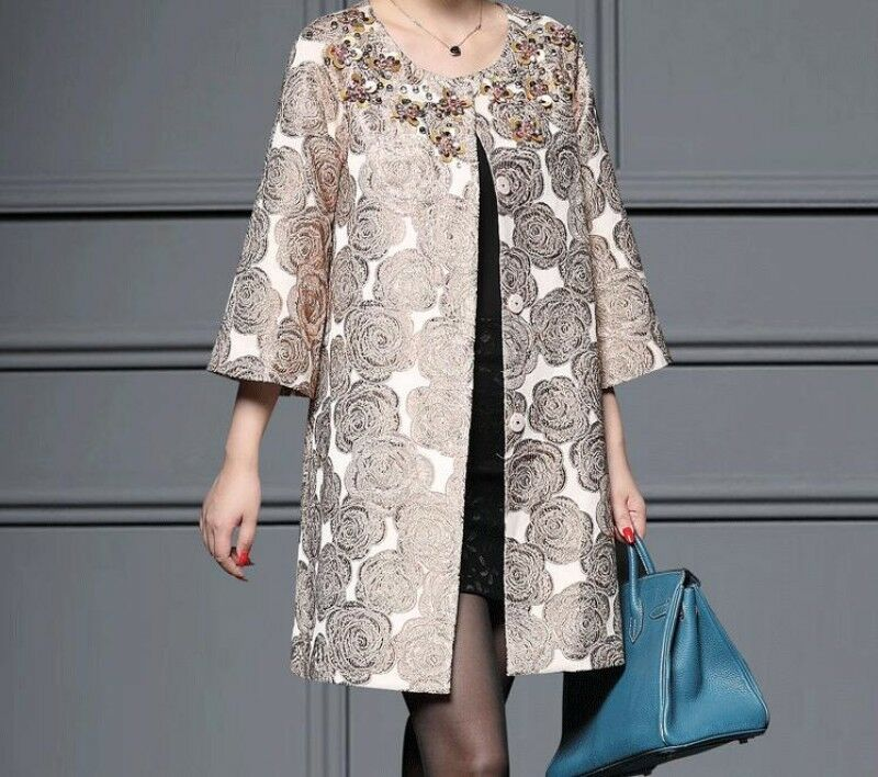Ladies Round Collar Embroidery Floral Beads Sequin Mother Coats Mid Long Fashion