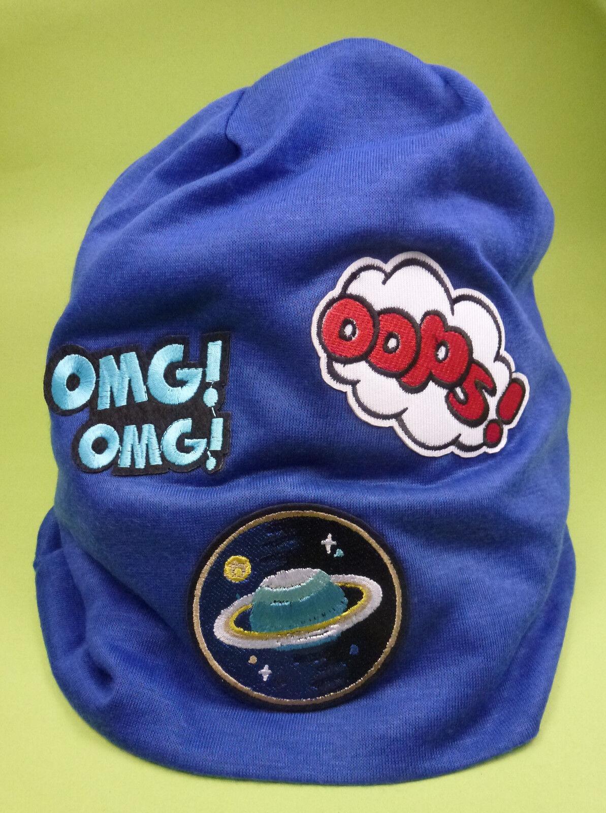 ❤️ Damen Herren Mütze Beanie Longbeanie Patches Aufnäher blau Weltall OMG - NEU