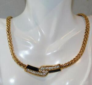 Swarovski-Swan-Black-Enamel-Crystal-Wide-Gold-Chain-Necklace-Gift-Box