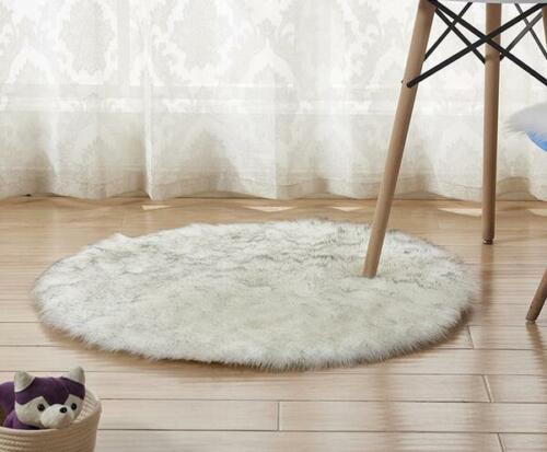 Weiche flauschige faux Pelz runder Schaffell Teppich rund Bodenmatte in 3 Größen