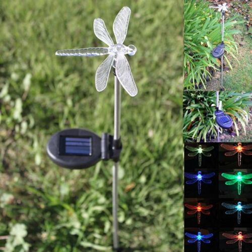 NEW 2x GARDEN SOLAR POWERED DRAGONFLY STAKE WITH COLOUR CHANGING LED LIGHT