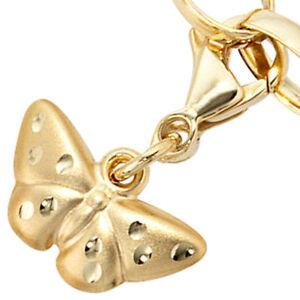 Charm-Anhaenger-Einhaenger-Schmetterling-aus-333-Gold-mattiert-Charms-Dangle