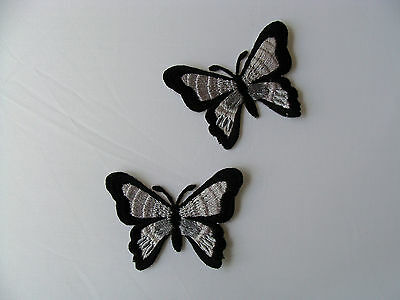 2 x Butterfly iron-on/sew-on fabric motif appliques embellishment patches choice