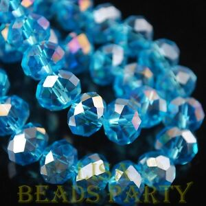 Hot-30pcs-8X6mm-Rondelle-Faceted-Loose-Spacer-Glass-Beads-Bulk-Lake-Blue-AB