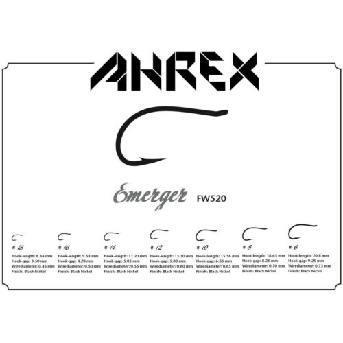 AHREX FW520 HOOK Fly Tying Emerger Hooks Black 24 Pack NEW!