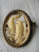 Vintage depone Francia Art Decó Tallado loros Celuloide Broche Pin cameo