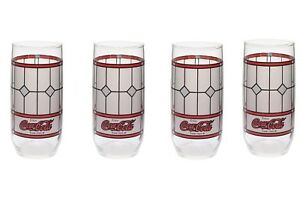 Coca Cola Stained Glass Red and White Enjoy Coca Cola Tumbler Glasses Qty 4