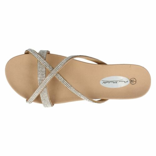 SALE Ladies F0905 Gold Mule Sandals By spot On Retail Price £9.99