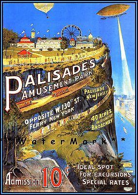 Palisades Amusement Park 1909 New Jersey Vintage Poster Print Art Nostalgia