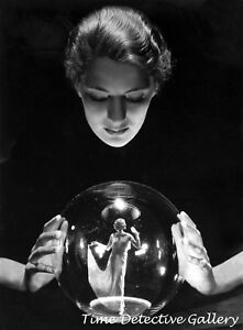 Fortune Teller with Dancer in Crystal Ball - Vintage Photo Print