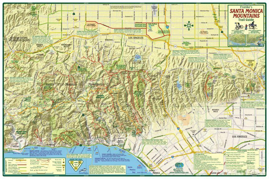 Franko Maps Map FML Ca Santa Monica Mtns Trail 21208 | eBay