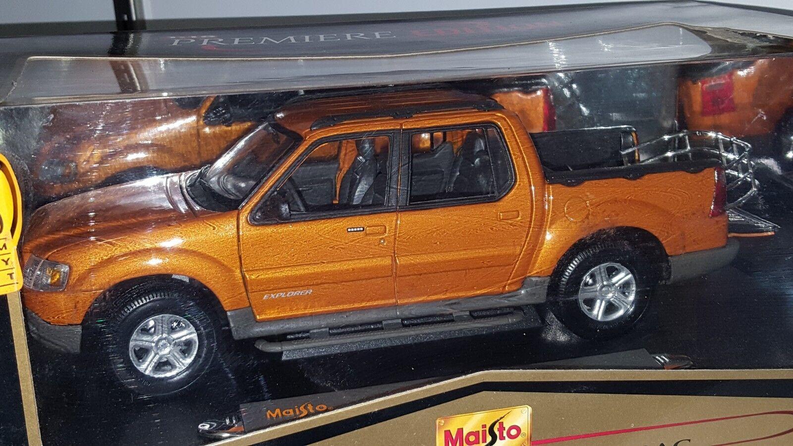 1 18 Maisto PREMIERE EDITION 2000 FORD Explorer Sport Trac véhicule utilitaire sport Orange BD