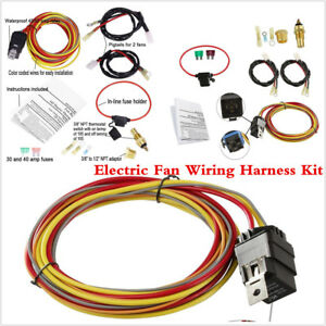 Details about Universal Car Dual Electric Cooling Fan Wiring Harness on