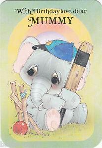 Vintage Happy Birthday Mummy Cute Greeting Card  Big Eyed Elephant Cricketer - <span itemprop=availableAtOrFrom>Luton, Bedfordshire, United Kingdom</span> - Vintage Happy Birthday Mummy Cute Greeting Card  Big Eyed Elephant Cricketer - Luton, Bedfordshire, United Kingdom