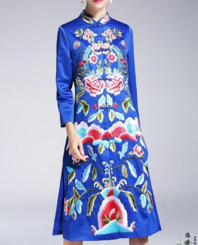 Retro Spring Chinese Robe Coat Womens Embroidery Floral Stand Collar Long Jacket