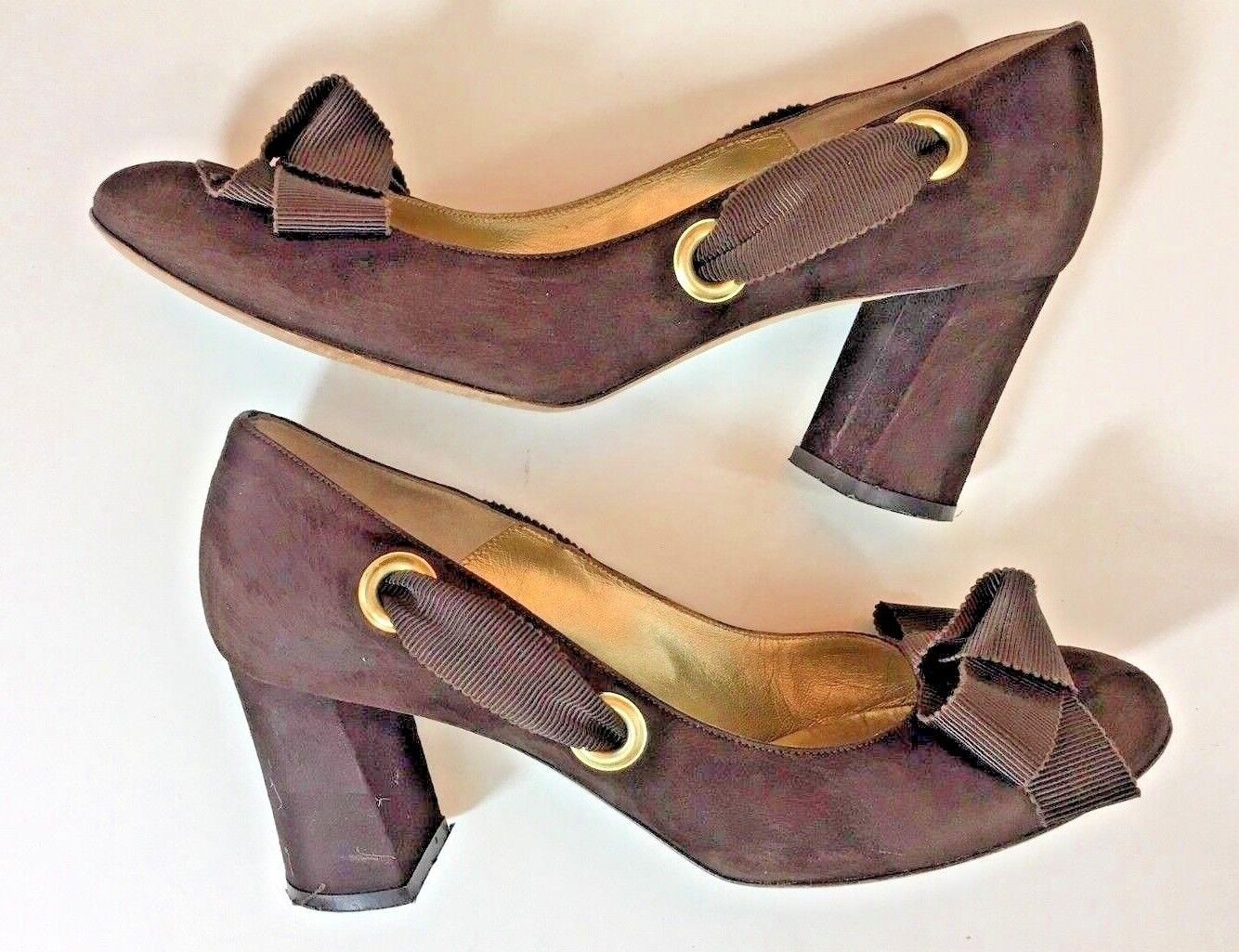 Bettye Muller Designer Women Brown Suede Leather Heels Size Made in