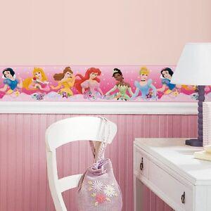 New Pink Disney PRINCESS BORDER Wallpaper Wall Decals Girls ...