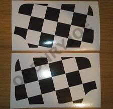 Classic Mini chequered door mirror decals/stickers