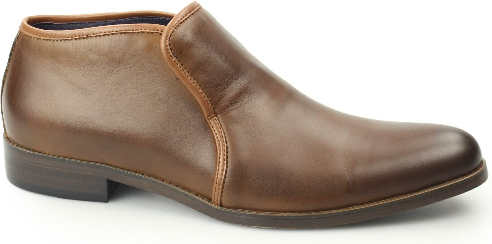Gucinari BOND Mens Leather Smooth Plain Toe Slip On Casual Chelsea Ankle Stiefel