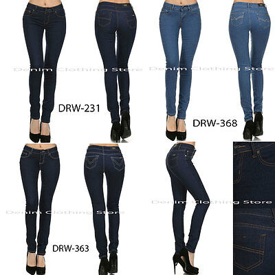 1 Women Skinny Jeans Plain Light Dark Blue Stretchy Slim Pant Jegging Size 11-13