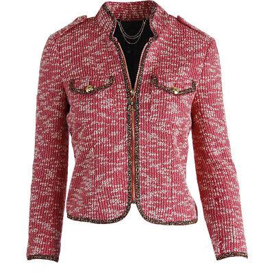 Konstruktiv Neu Juicy Couture Black Label Rosa Metallic Boucle Blazer Jacke $268 Ein Unbestimmt Neues Erscheinungsbild GewäHrleisten Kleidung & Accessoires