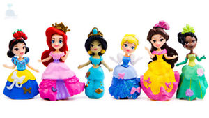 6pcs Disney Princess Cake Toppers Dolls Character Figures Toy Miniature 85mm *50