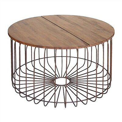 Arrellbronze Solid Mango Wood Timber Metal Round Coffee Table