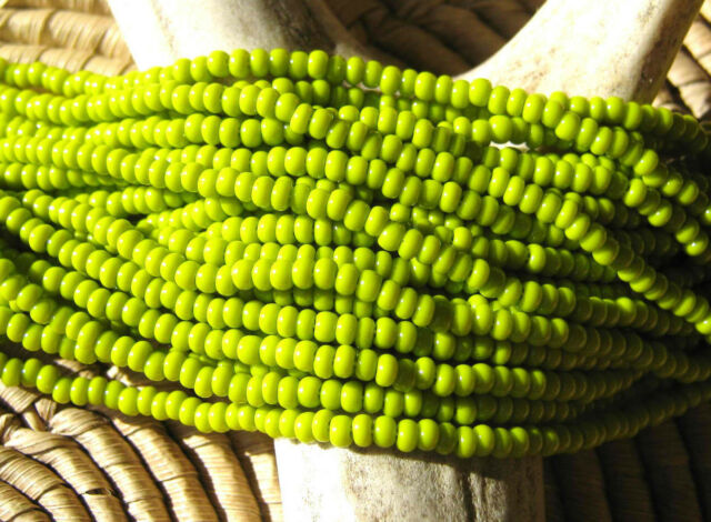 Czech Glass Seed Beads Size 11/0 Opaque OLIVE GREEN 53430 Full Hank Lot#04094-02