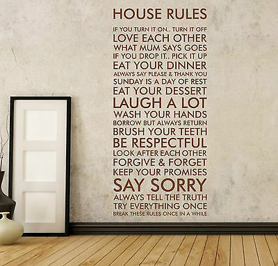 HOUSE RULES | Vinyl wall art sticker quote decal | funny family | WQ2