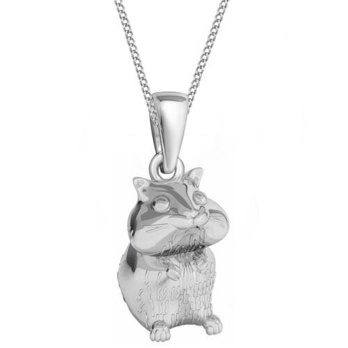 Hamster stabile Klapp-Brisur Ohrringe Kette 925 Echt Silber Mädchen Damen Maus