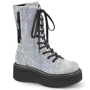 Demonia EMILY-362 Silver -Rhinstone Platform Calf High Lace-Up Boot Zip Pocket