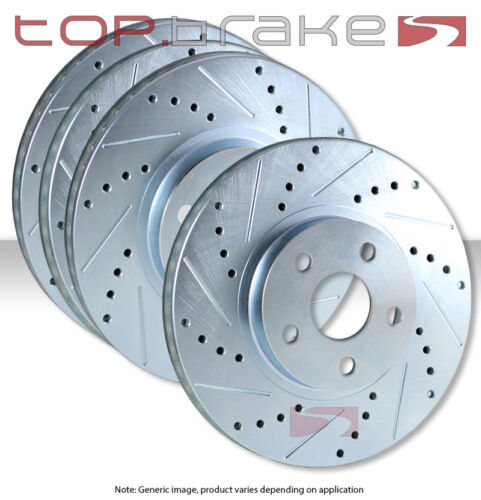 FRONT REAR SET Performance Cross Drilled Slotted Brake Disc Rotors TBS14316