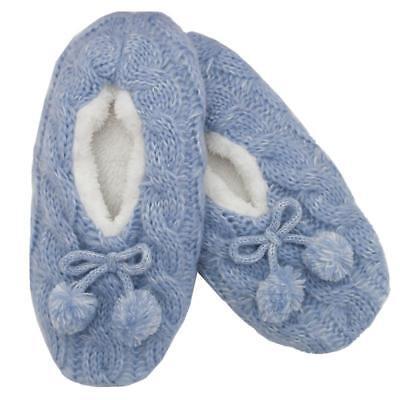 Arco de piel de las Señoras Rosa Lila Polar Suave Felpa Beige Marrón Pom Pom Slipper Socks