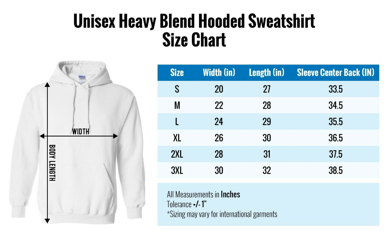 Image result for unisex hoodie size chart