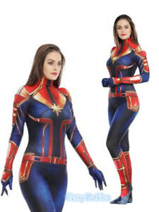 F2 Girls Women Captain Marvel Carol Lycra Full Bodysuit Book Week Costume Ebay Deluxe captain marvel hero suit child costume even with my back against the wall—i don't give up! carol denvers aka captain america will never stop fighting for whats right and noble. ebay