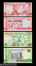 Gambia 5 + 10 Dalasis 2013 Set of 2 Mint UNC Uncirculated Banknotes 2 PCS