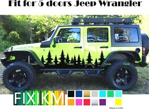Christmas Jeep.Details About Forest Christmas Trees Side Decal Graphic Fit 5 Doors Jeep Wrangler Sticker Door