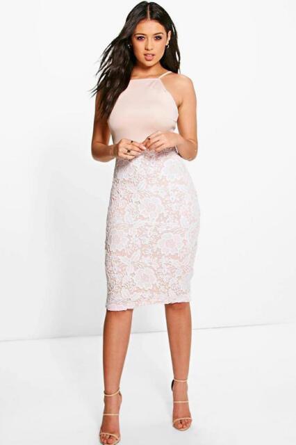 55570231d3f4 Boohoo Size 10 Pink Boutique Eli Crochet Lace Midi Bodycon Dress. Sa076 DD  26 for sale online | eBay