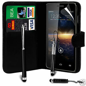 Black-PU-Leather-Wallet-Flip-Case-Cover-Screen-Film-amp-3-Pens-For-Various-Phones