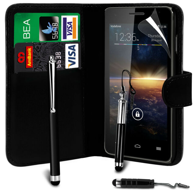 Black PU Leather Wallet Flip Case Cover, Screen Film & 3 Pens For Various Phones