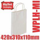 50 Midi White Kraft Paper Gift & Shopping Bags w/ Twist Rope Handle 420x310x110