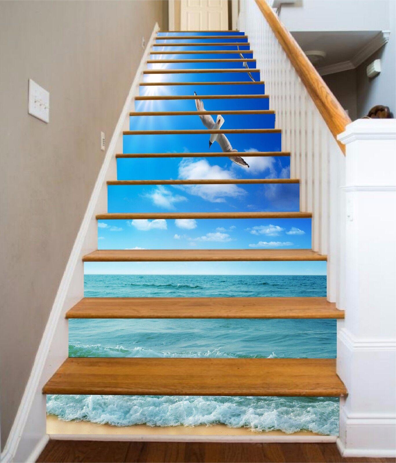 3D Seagulls Sea 862 Stair Risers Decoration Photo Mural Vinyl Decal Wallpaper AU