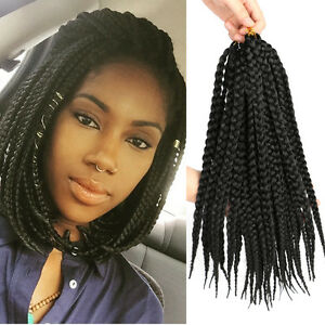 synthetic braid hair 14 box braids black crochet braiding