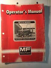 Massey Ferguson Mf 218 Mower Mid Mount Amp 3 Point Hitch Operators Manual