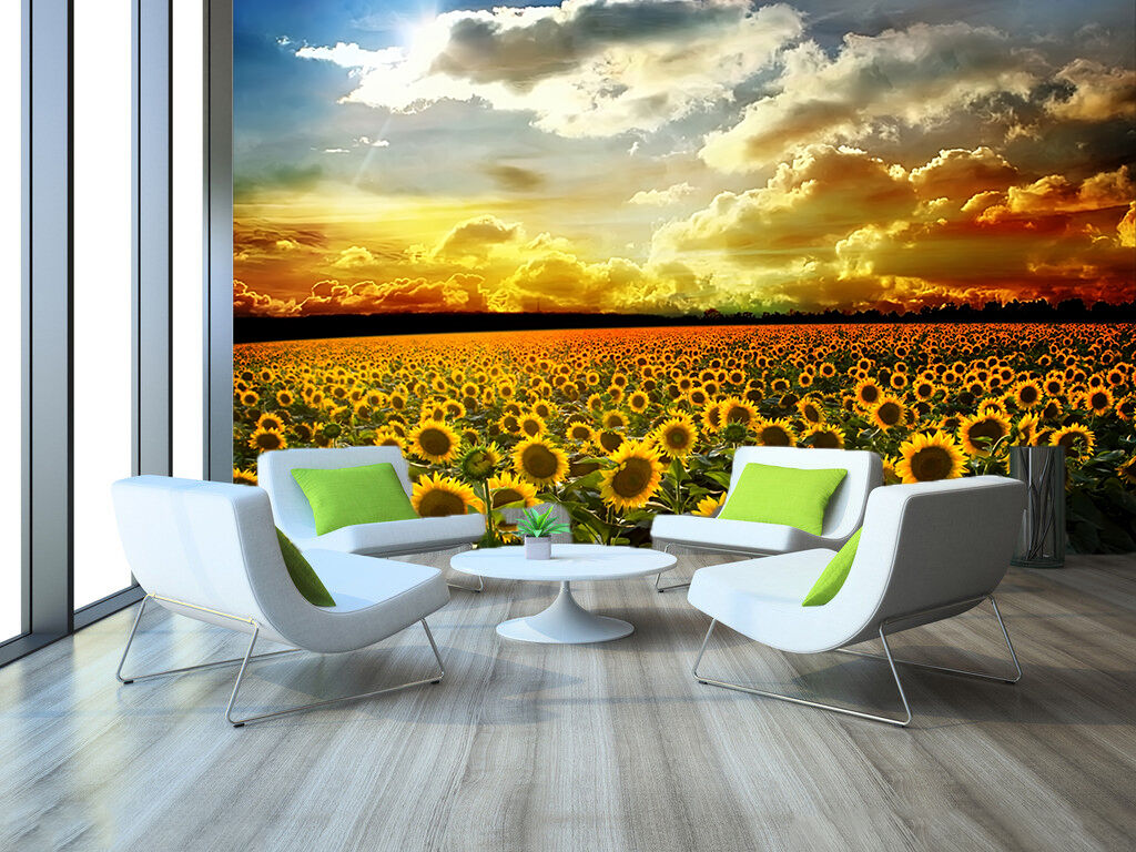 3D Sunflower field 1 WallPaper Murals Wall Print Decal Wall Deco AJ WALLPAPER