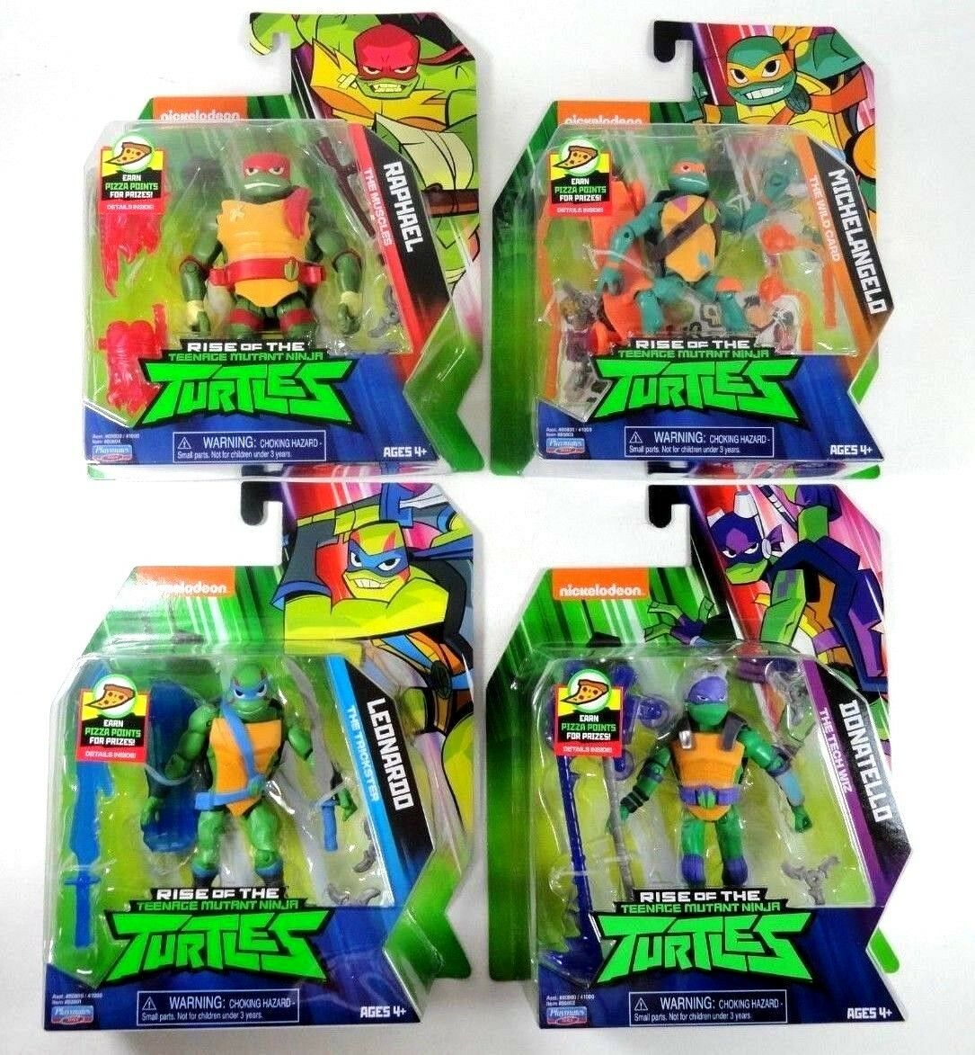 4 New Rise of of of The Teenage Mutant Ninja Turtles TMNT Raph Mikey Leo Donatello Lot 90493e