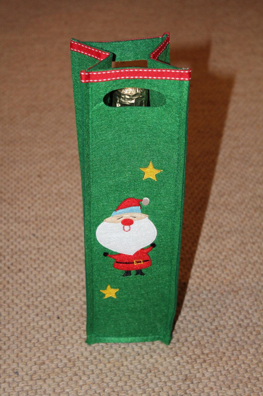 100 Flaschentasche Santa Claus Flaschenbehälter Geschenktasche 32x8 cm Grün NEU