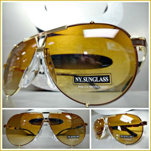 NEW Men/'s Classic Luxury RETRO HIP HOP Style SUNGLASSES Large Brown /& Gold Frame