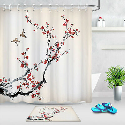 Flowers Branches Birds Plum Blossom Fabric Shower Curtain Set Bathroom Decor 72/""